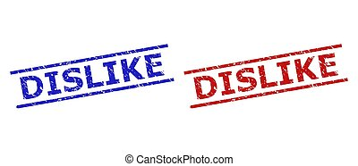 Blue and red DISLIKE stamp seals on a white background. Flat vector grunge stamps with DISLIKE message inside 2 parallel lines. Rubber imitations with grunge texture.