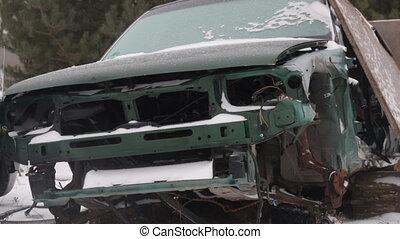 dismantled, hiver, vieux, voiture, gros plan, décharge, tempête neige
