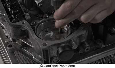 Dismantling automotive modern automatic transmission DSG7,...