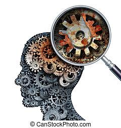 disminución, cerebro