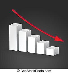 disminución, concepto, empresa / negocio, graph., vector, 3d