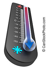 disminución, :, temperatura, termómetro