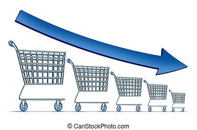 disminución, ventas