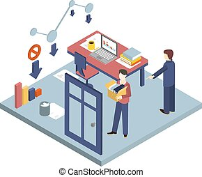 Dismissal of a Worker. Isometric 3d vector illustrations