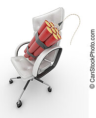 Dismissal of manager. Dynamit on office armchair. 3d