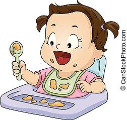 disordinato, cucchiaio, bambino primi passi, pasto, illustrazione