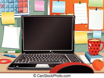disordinato, laptop, workstation.eps