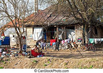 Disorganized gipsy house & backyard in Romania