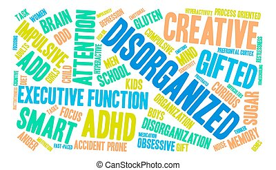 Disorganized word cloud on a white background.