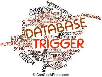 disparador, palabra, nube, base de datos