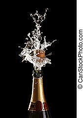 disparando, botella champaña, corcho