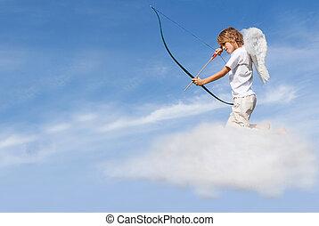 disparando, concepto, valentines, cupido, flecha, nube, día