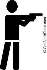 disparando, deporte, icono