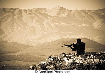 disparando, figura, en, guerra