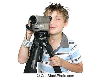 disparando, vídeo, con, trípode