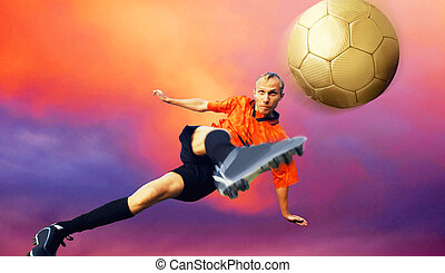 disparar, céu, futebol, nuvens, jogador