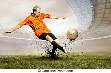 disparar, de, jogador de futebol, ligado, a, campo, de,...