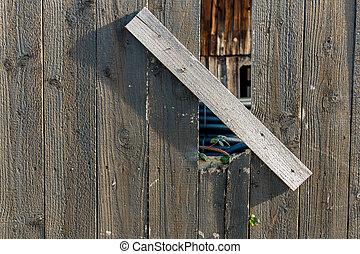 disparar, e, antigas, cerca madeira