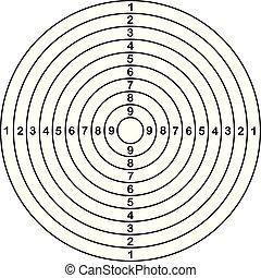 disparar, outline., vetorial, alvo, ilustração