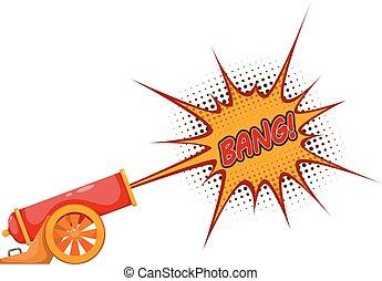 disparo, cañón, antiguo, blanco, acciones coloran, cannon., ilustración, vendimia, fondo.