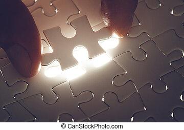 disparu, lumière, puzzle, morceau puzzle, lueur