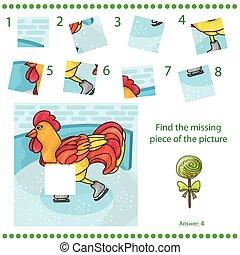 disparu, puzzle, -, coq, morceau jeu, trouver