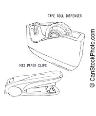 dispenser roll tape and Max clip papers, punch clip set.