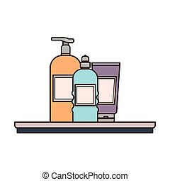 dispensing bottle on shelf with white background