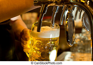 Close up of a male bartender dispensing draught beer in a pub holding a large glass tankard under a spigot attachment on a stainless steel keg