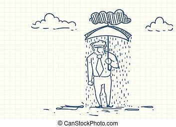 disperato, uomo affari, sotto, pioggia, tenendo ombrello,...