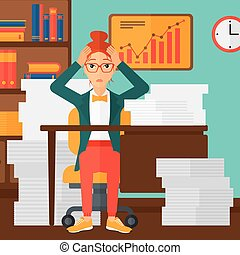 disperazione, donna, espair, seduta, in, ufficio.