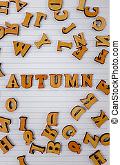 dispersé, sommet, blanc, bois, automne, vue, lettres, locution, cahier
