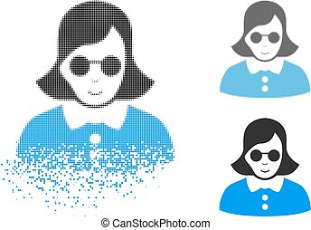 Dispersed Dot Halftone Blind Woman Icon with Face - Blind ...