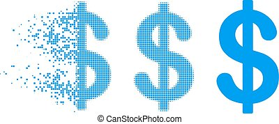 Dispersed Dot Halftone Dollar Icon - Dollar icon in ...