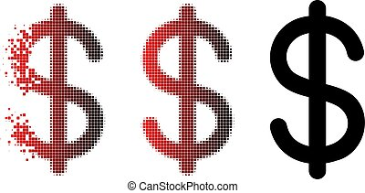 Dispersed Dot Halftone Dollar Icon - Dollar icon in sparkle,...