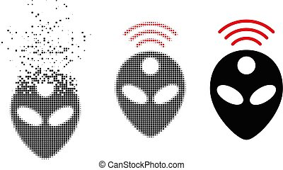 Dispersed Dotted Halftone Alien Head Icon - Alien head icon ...