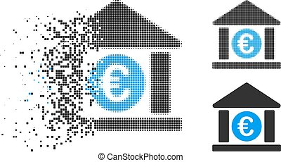 Dispersed Dotted Halftone Euro Bank Building Icon - Euro ...