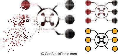 Dispersed Dotted Halftone Roulette Circuit Icon
