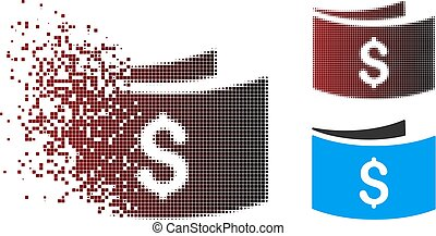 Dispersed Pixel Halftone Banknotes Icon