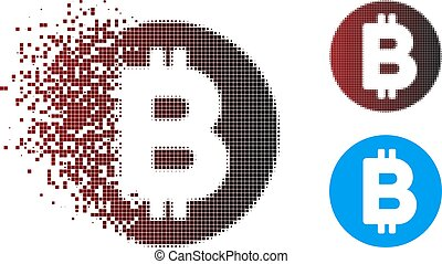 Dispersed Pixel Halftone Bitcoin Icon