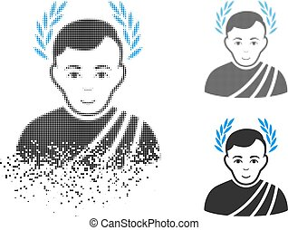 Dispersed Pixel Halftone Caesar Wreath Icon with Face -...