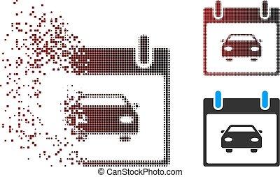 Dispersed Pixel Halftone Car Calendar Day Icon