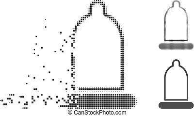 Dispersed Pixel Halftone Condom Icon - Grey vector condom...