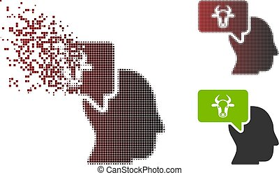 Dispersed Pixel Halftone Cow Thinking Person Icon