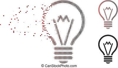 Dispersed Pixel Halftone Electric Bulb Icon