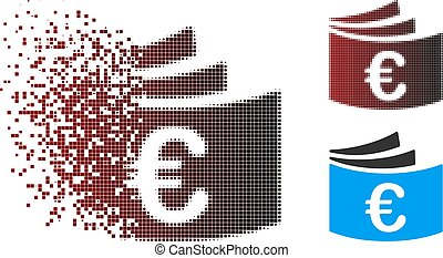 dispersed, pixel, halftone, euro, chéquier, icône