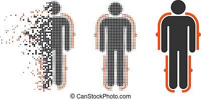 Dispersed Pixel Halftone Exoskeleton Icon