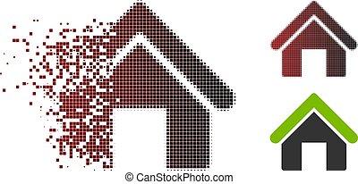Dispersed Pixel Halftone House Icon