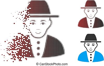 Dispersed Pixel Halftone Jew Icon - Vector jew icon in...