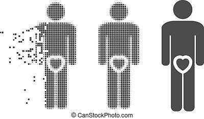 Dispersed Pixel Halftone Male Love Genitals Icon